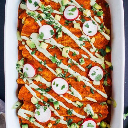 Swiss Chard Mushroom Enchiladas