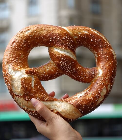 vegan food big soft pretzel