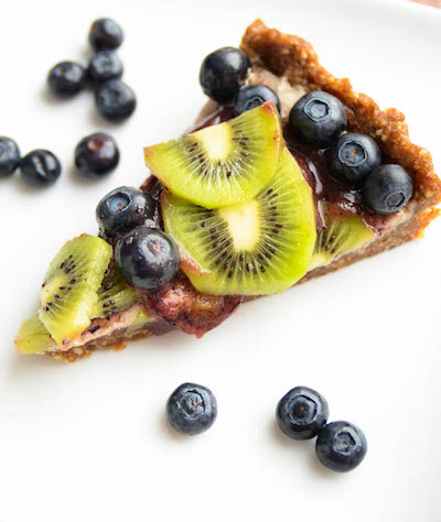 Raw blueberry kiwi tart Blissful Basil